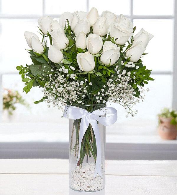 Silindir Vazo 25 Beyaz Gül